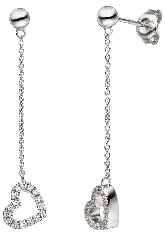 JOBO Paar Ohrhänger Herz 925 Silber mit Zirkonia