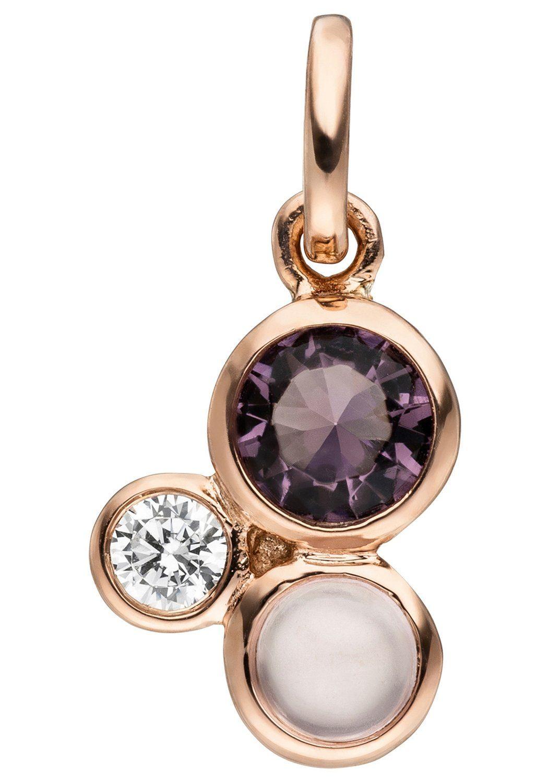 JOBO Kettenanhänger 925 Silber roségold vergoldet Glasstein Zirkonia