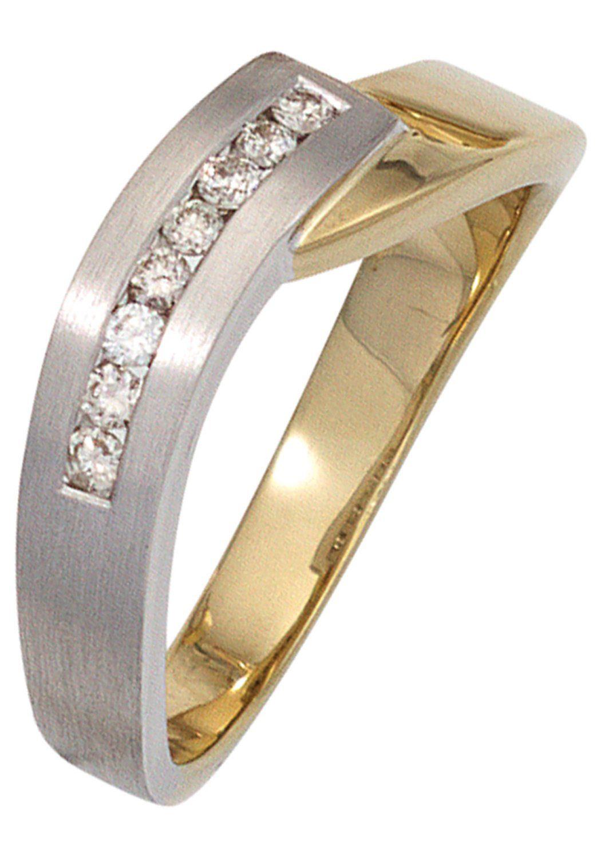 JOBO Diamantring 585 Gold bicolor mit 8 Diamanten