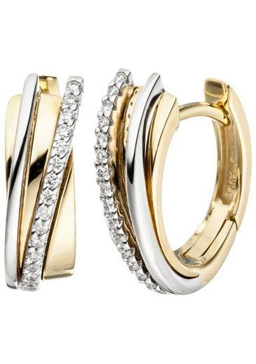 JOBO Paar Creolen, 585 Gold bicolor mit 32 Diamanten