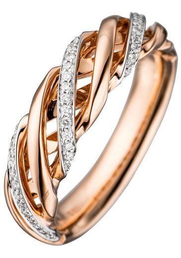 JOBO Diamantring, 585 Roségold bicolor mit 36 Diamanten