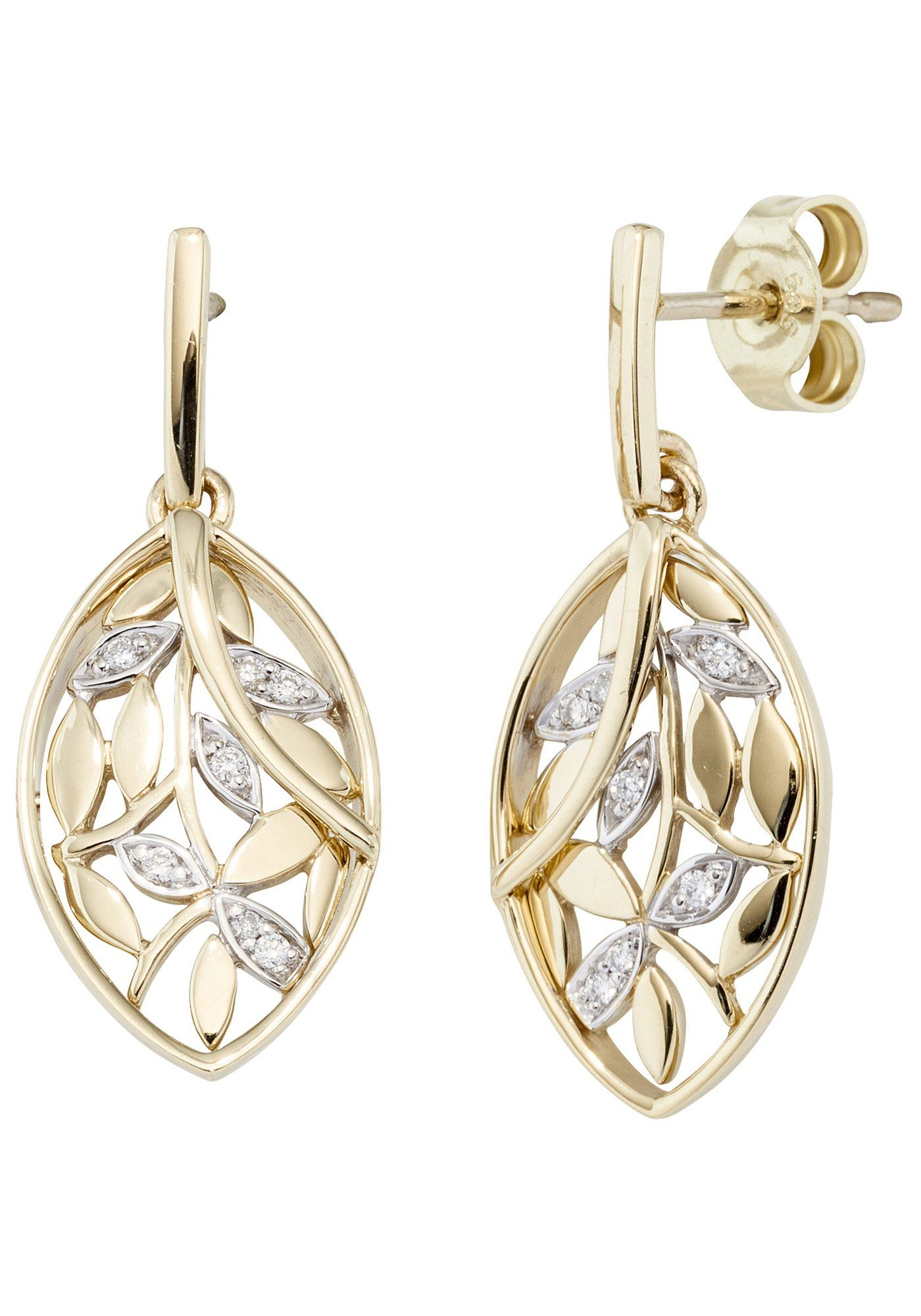 JOBO Paar Ohrhänger 585 Gold bicolor mit 14 Diamanten