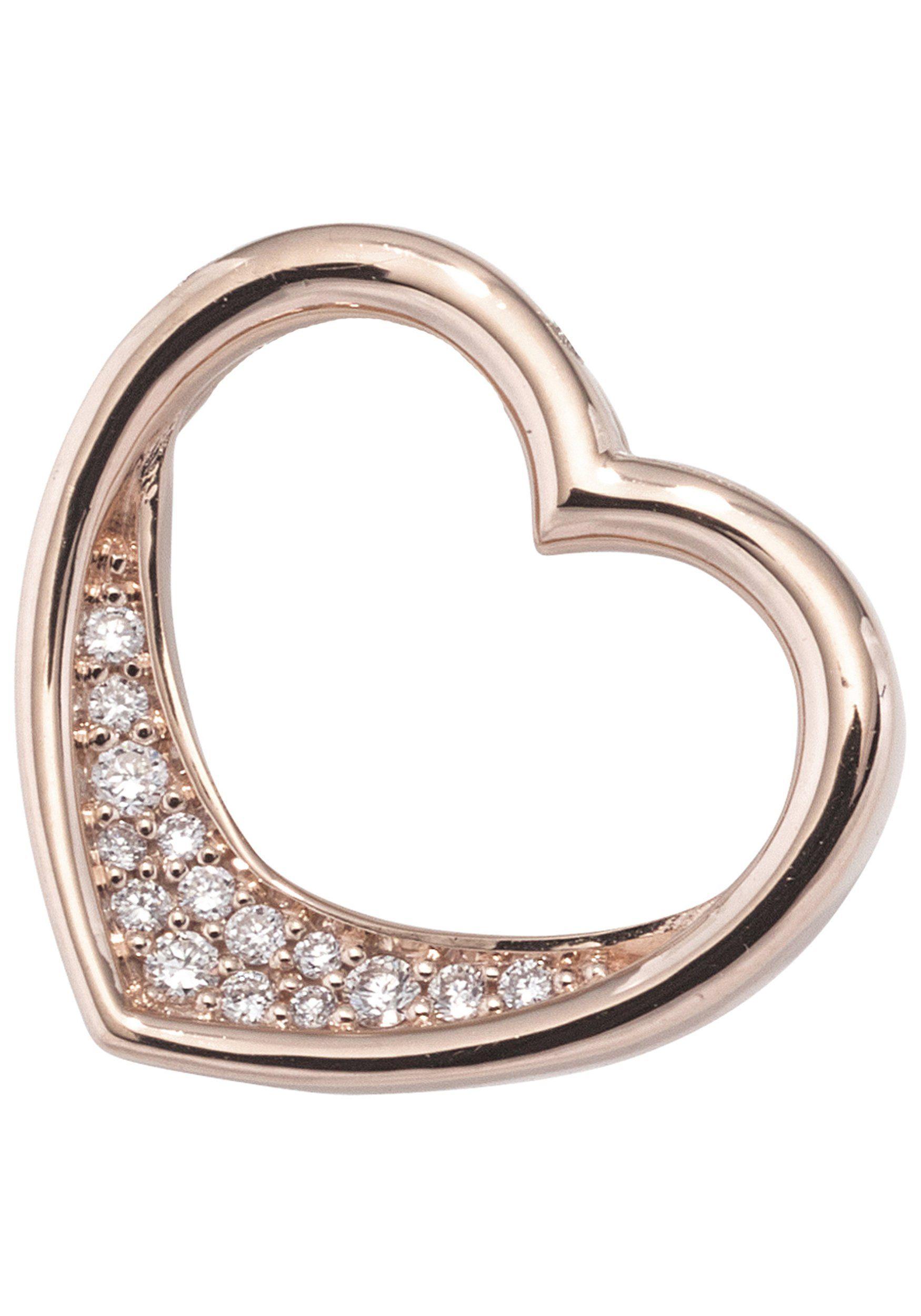 JOBO Herzanhänger »Herz« 585 Roségold mit 15 Diamanten