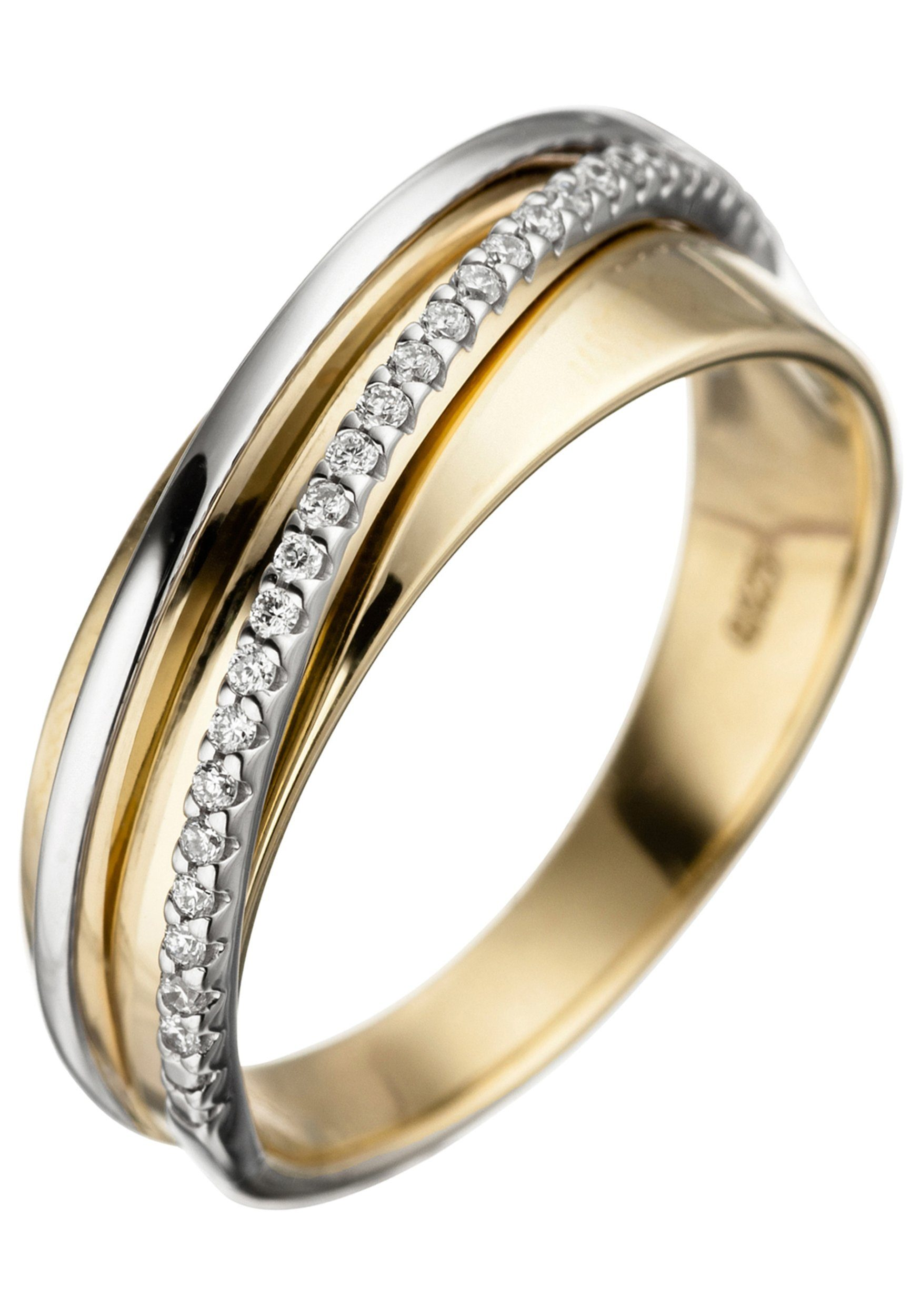 JOBO Diamantring 585 Gold bicolor mit 25 Diamanten