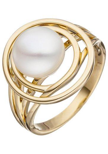JOBO Perlenring 585 Gold mit einer Süßwasser-Zuchtperle