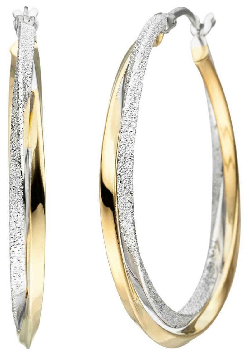 JOBO Paar Creolen, verschlungen 925 Silber bicolor vergoldet