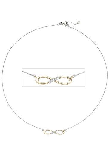 JOBO Collier »Unendlichkeit«, 585 Gold bicolor mit 5 Diamanten