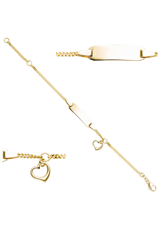 JOBO ID Armband Schildband Herz 333 Gold