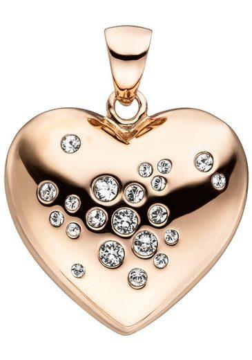 JOBO Herzanhänger »Herz«, 925 Silber roségold vergoldet mit Kristallen