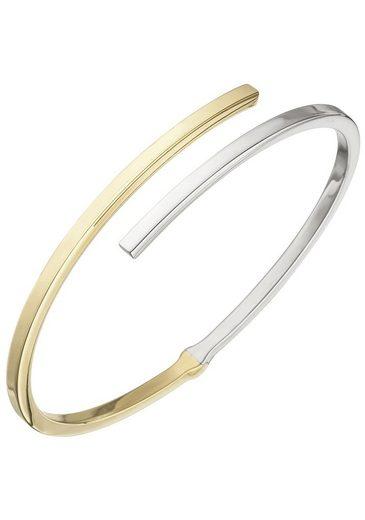 JOBO Armreif, oval 925 Silber bicolor vergoldet