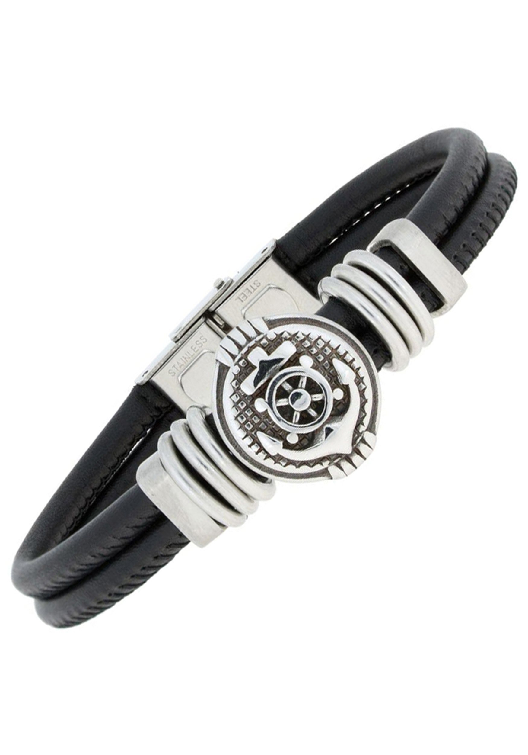 JOBO Lederarmband »Anker« Leder mit Edelstahl 19 cm | Schmuck > Armbänder > Lederarmbänder | JOBO