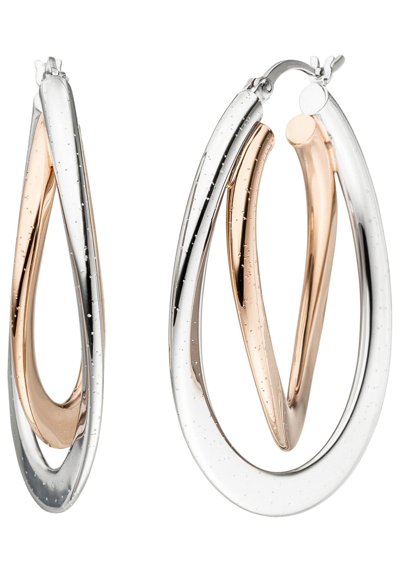 JOBO Paar Creolen oval 925 Silber bicolor vergoldet