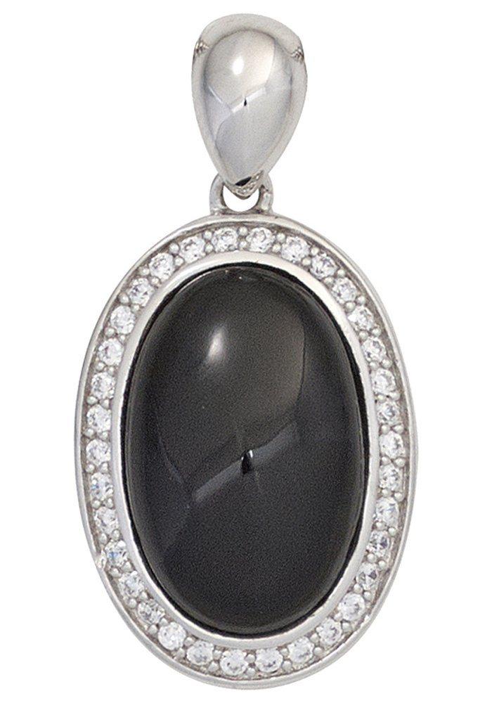 JOBO Kettenanhänger oval 925 Silber mit Onyx und Zirkonia   Schmuck > Halsketten > Ketten ohne Anhänger   JOBO