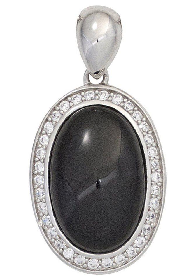 JOBO Kettenanhänger oval 925 Silber mit Onyx und Zirkonia | Schmuck > Halsketten > Ketten ohne Anhänger | JOBO