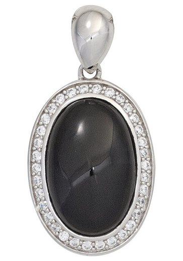 JOBO Kettenanhänger, oval 925 Silber mit Onyx und Zirkonia