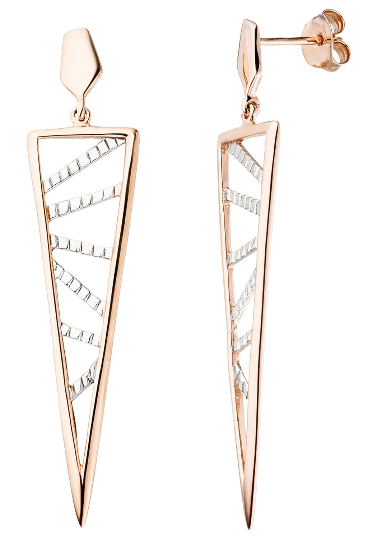JOBO Paar Ohrhänger dreieckig 925 Silber roségold vergoldet