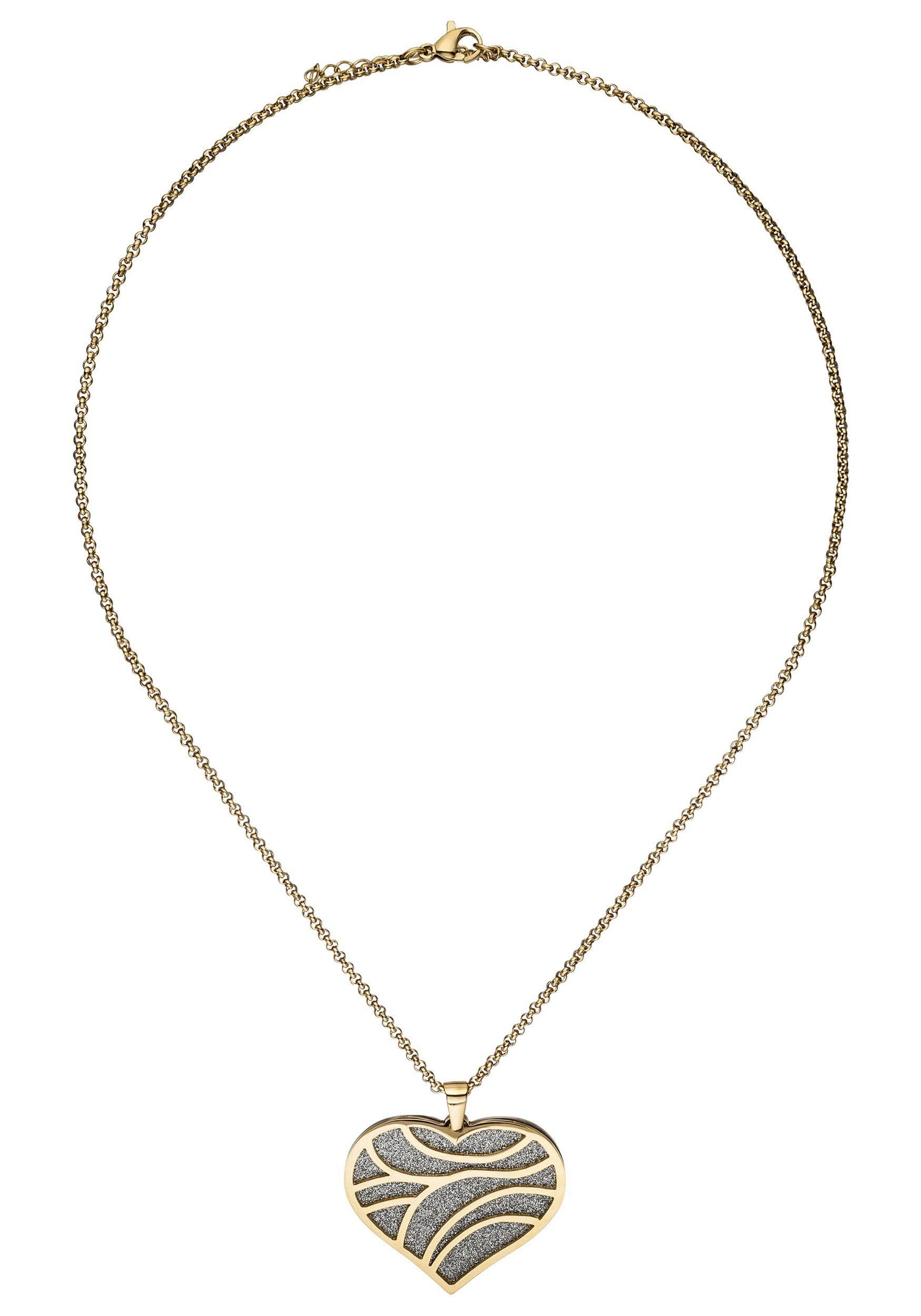 JOBO Kette mit Anhänger Herz Edelstahl goldfarben 47 cm