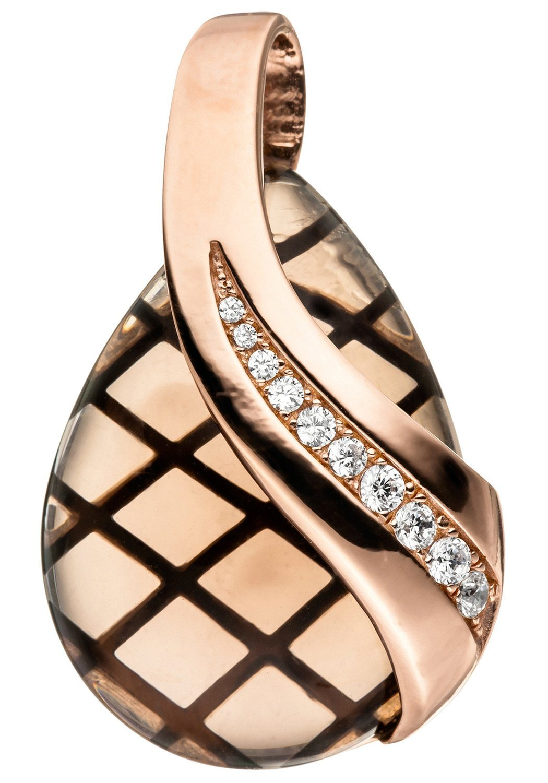 JOBO Kettenanhänger 925 Silber roségold vergoldet Rauchquarz Zirkonia | Schmuck > Halsketten > Ketten ohne Anhänger | Silber | JOBO