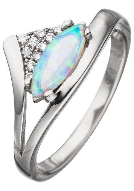 JOBO Silberring 925 Silber mit synthetischem Opal und Zirkonia | Schmuck > Ringe > Silberringe | JOBO
