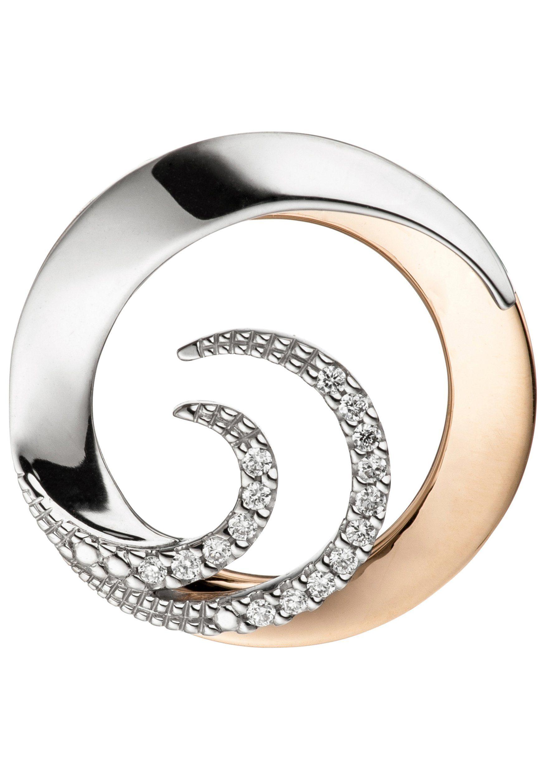JOBO Runder Anhänger rund 585 Gold bicolor mit 16 Diamanten