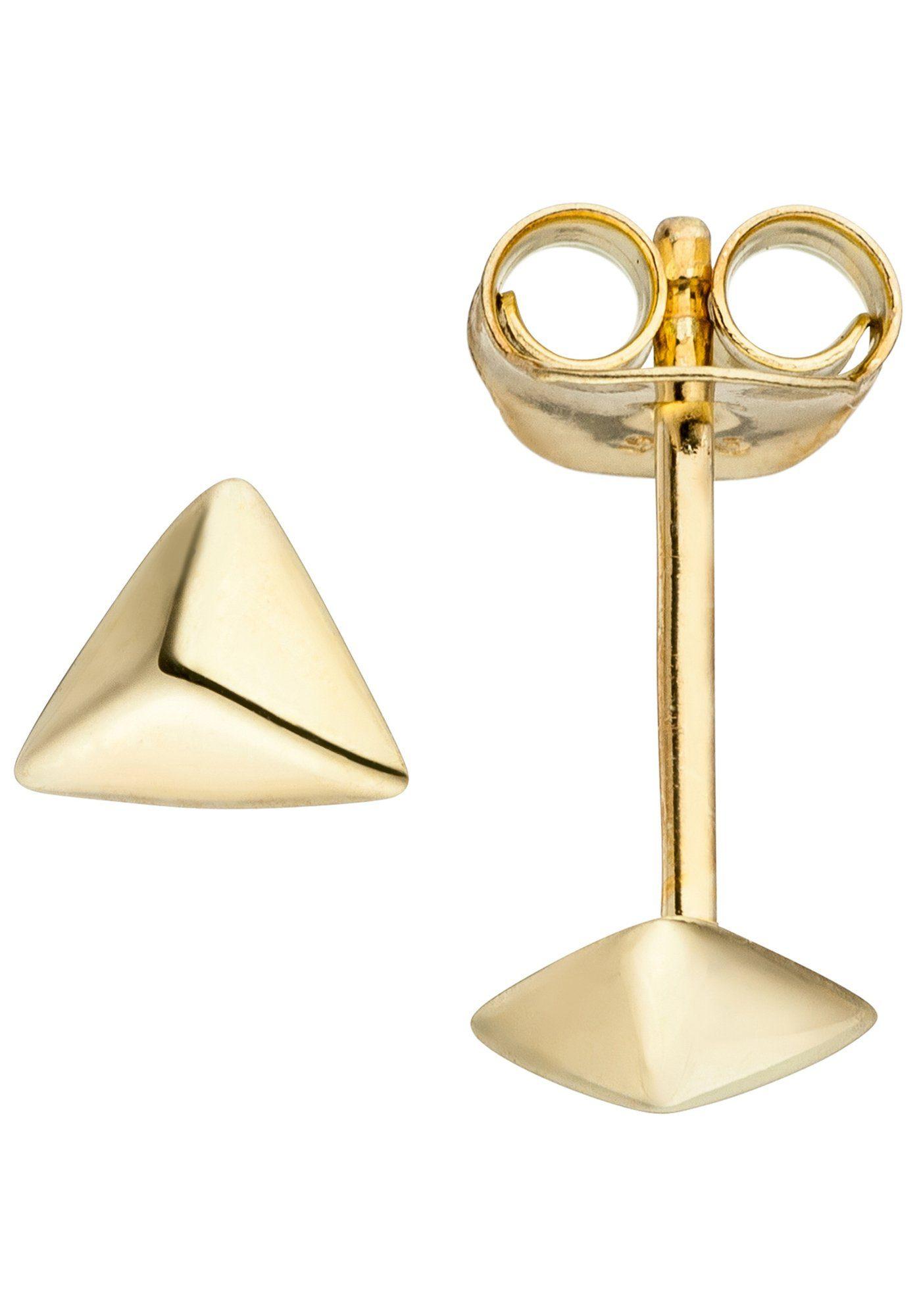 JOBO Paar Ohrstecker »Dreieck« dreieckig 925 Silber vergoldet
