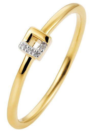 JOBO Diamantring, schmal 585 Gold bicolor mit 4 Diamanten