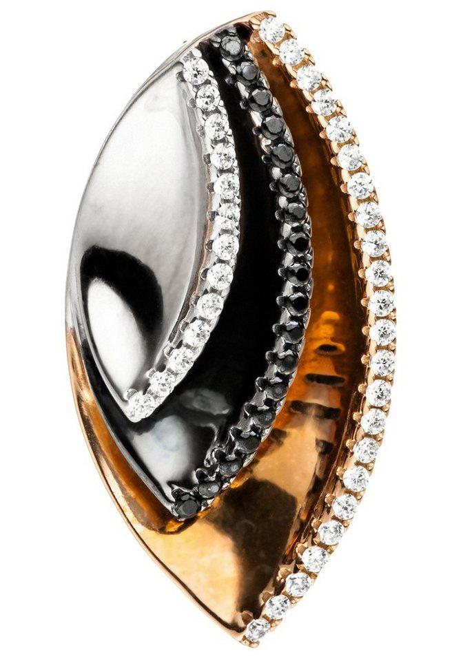 JOBO Kettenanhänger 925 Silber tricolor dreifarbig vergoldet Zirkonia | Schmuck > Halsketten > Ketten ohne Anhänger | JOBO