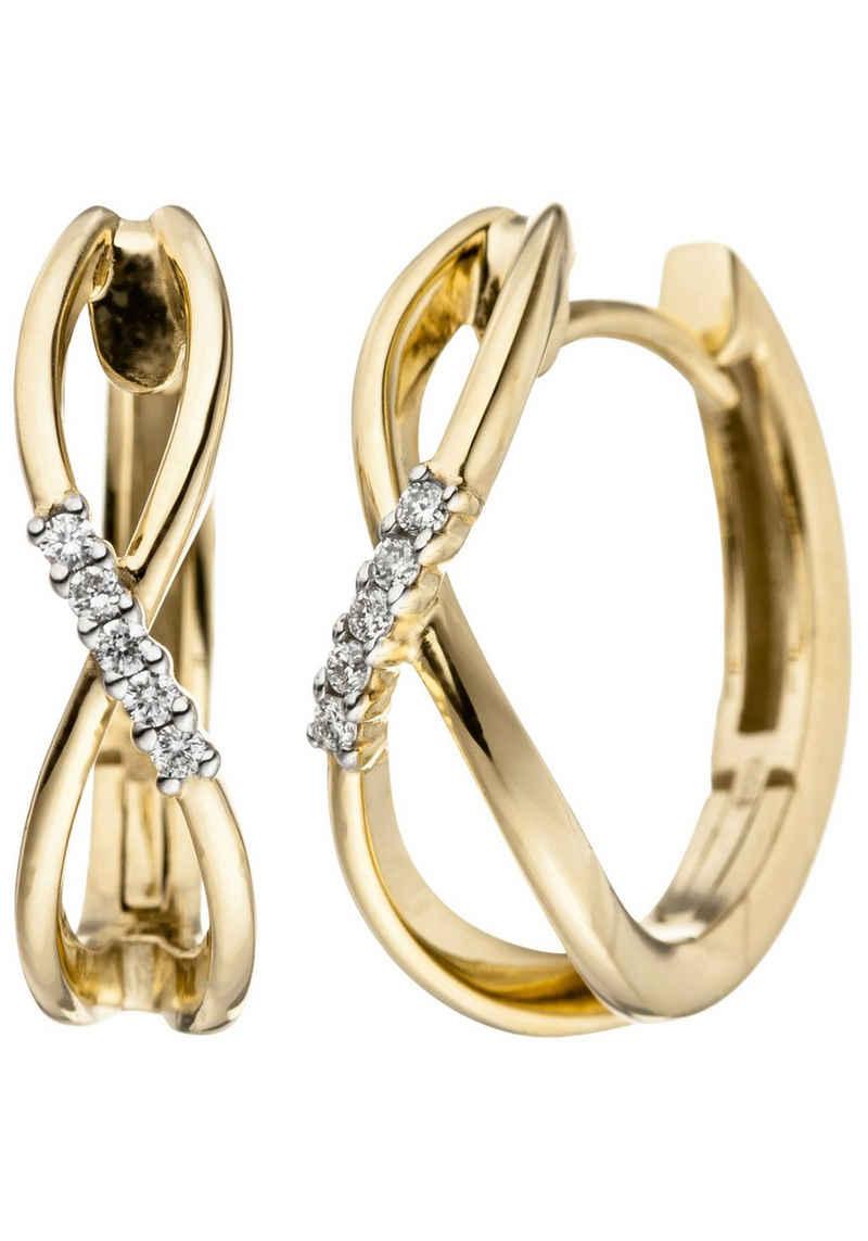 JOBO Paar Creolen, 585 Gold mit 10 Diamanten