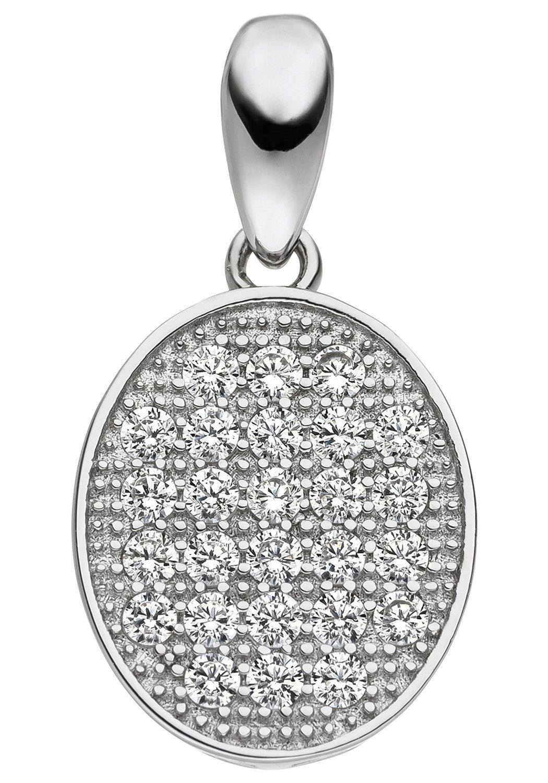 JOBO Kettenanhänger oval 925 Silber mit Zirkonia