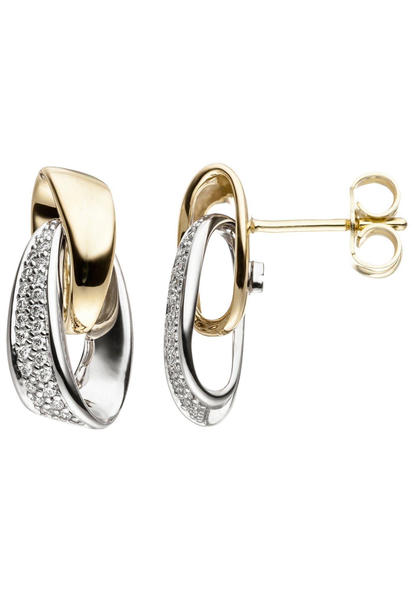 JOBO Paar Ohrstecker 585 Gold bicolor mit 48 Diamanten | Schmuck > Ohrschmuck & Ohrringe > Ohrstecker | Weißgold - Gold | Si | JOBO