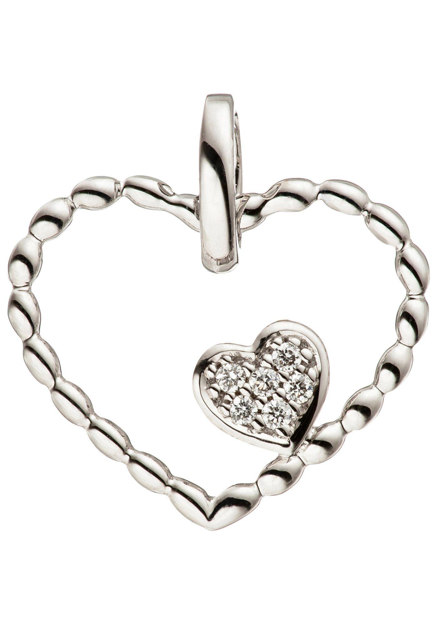 JOBO Herzanhänger »Herz Herzen« 585 Weißgold mit 6 Diamanten