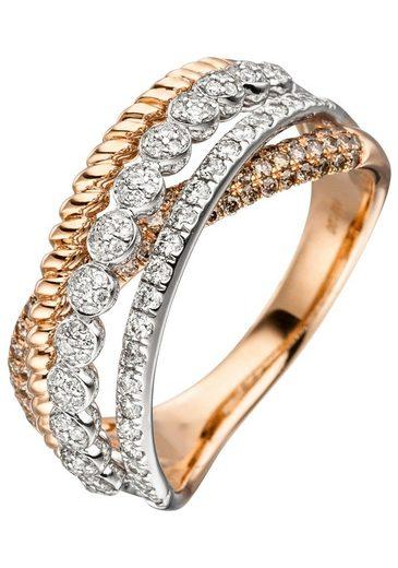 JOBO Diamantring, 585 Roségold mit 181 Diamanten
