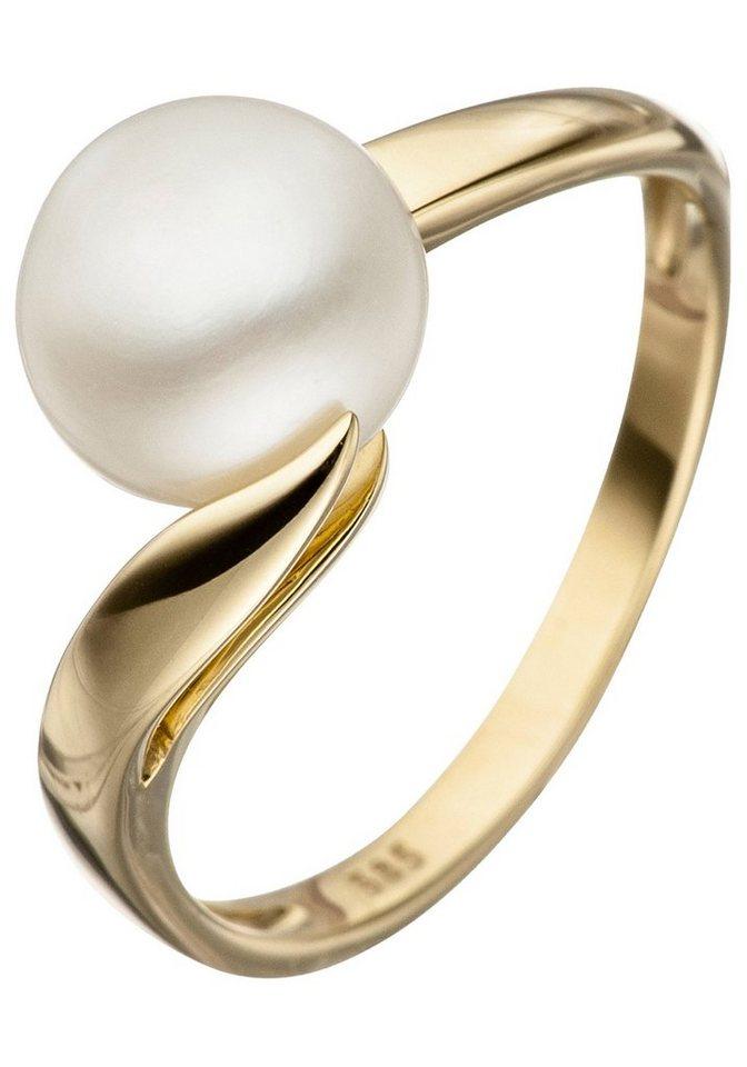 JOBO Perlenring 585 Gold mit einer Süßwasser-Zuchtperle   Schmuck > Ringe > Perlenringe   Goldfarben   JOBO