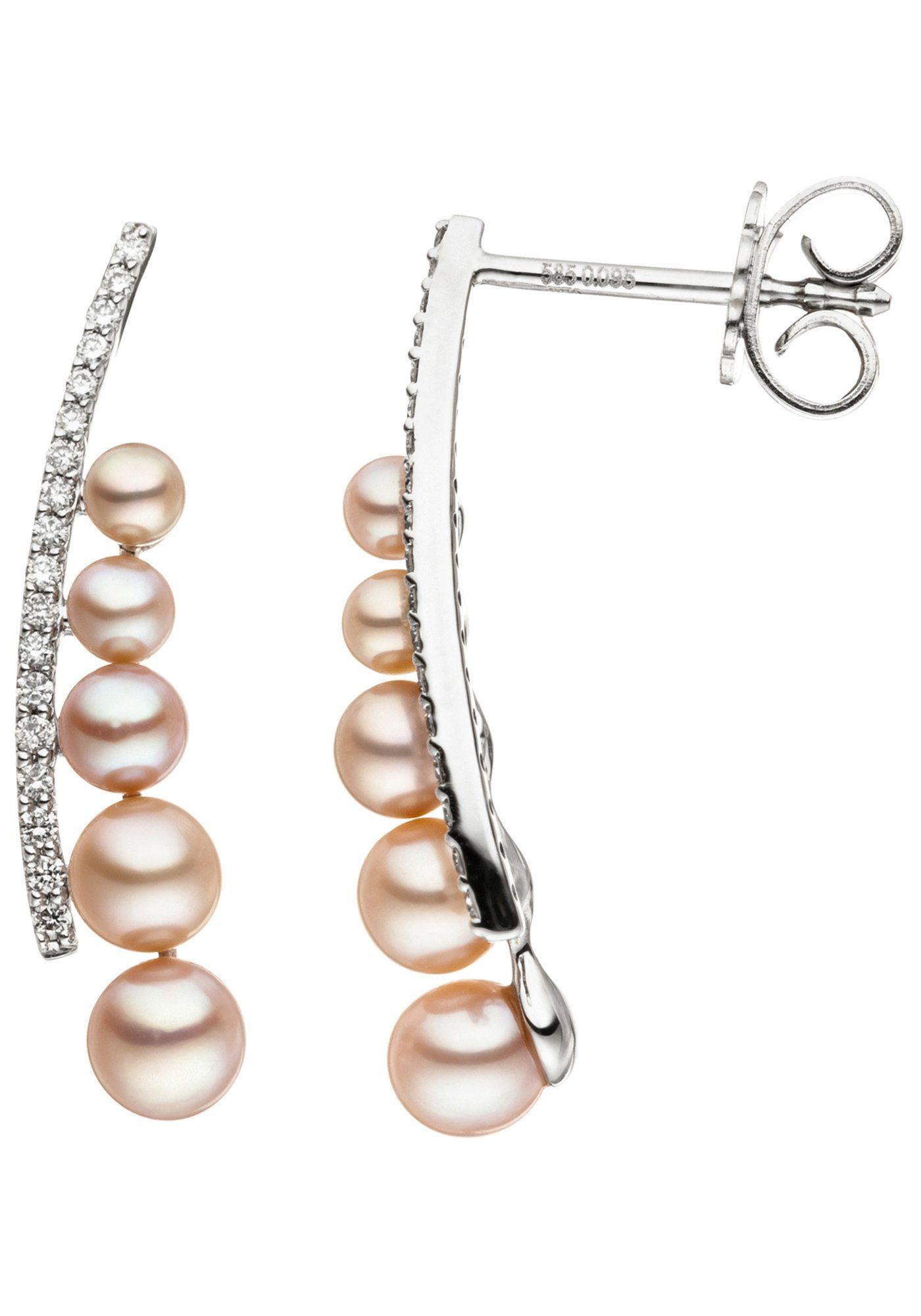 JOBO Perlenohrringe 585 Weißgold 36 Diamanten 10 Süßwasser Perlen