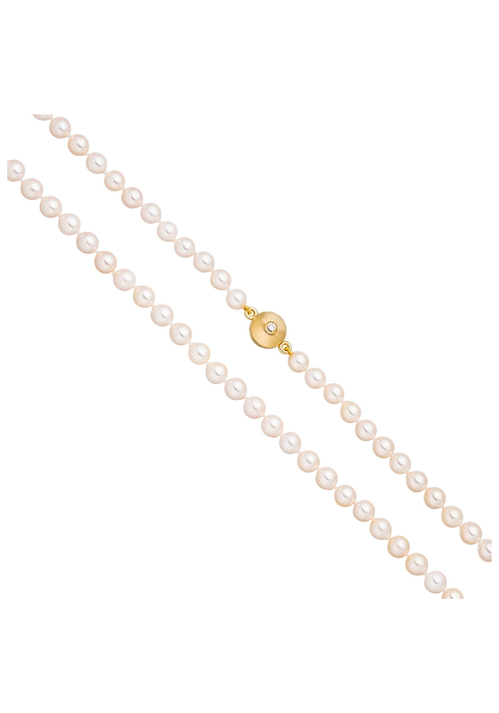 JOBO Perlenkette 925 Silber vergoldet Akoya Perlen Zirkonia 45 cm