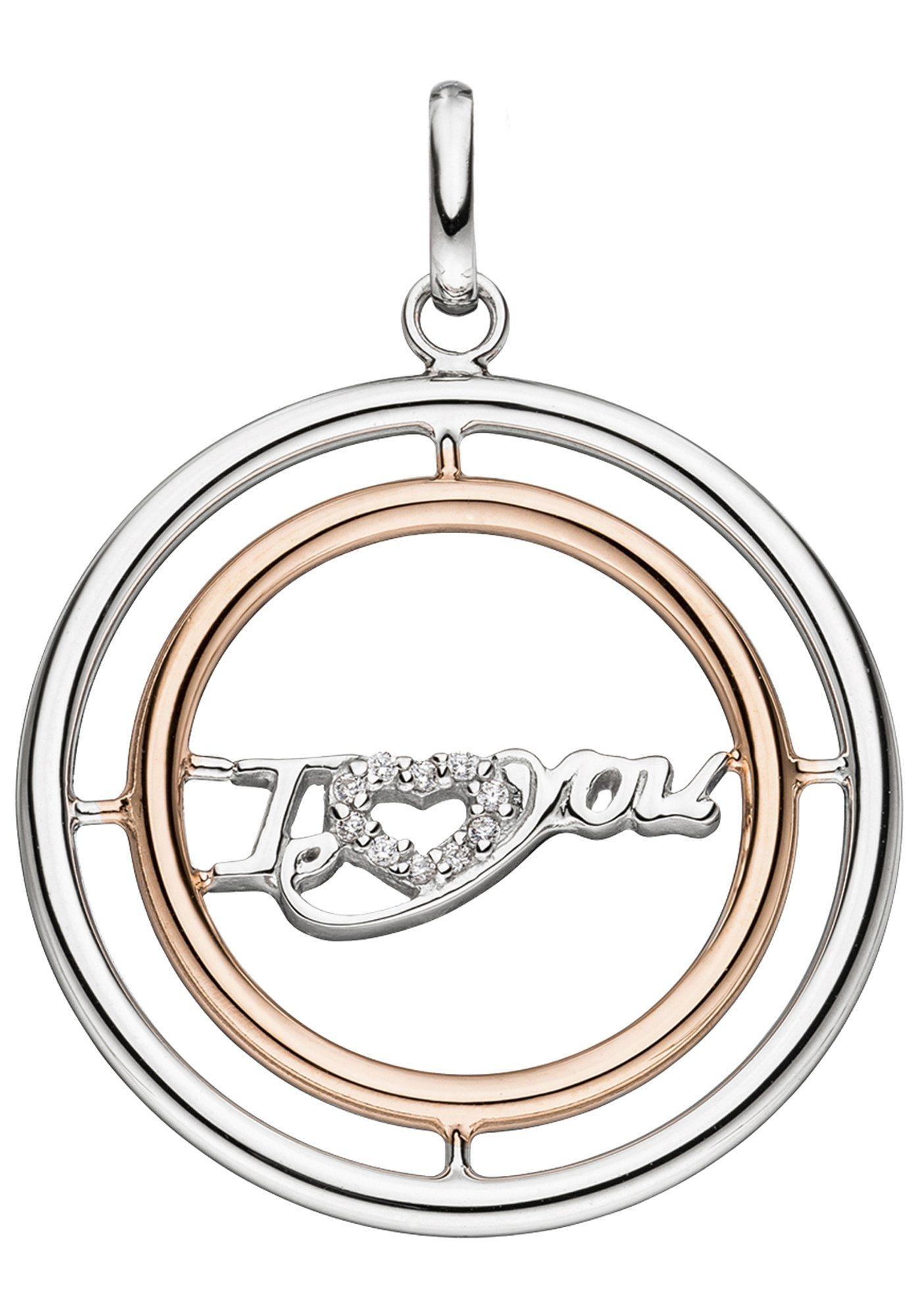 JOBO Kettenanhänger »I Love You«, 925 Silber roségold vergoldet bicolor mit Zirkonia | Schmuck > Halsketten > Ketten ohne Anhänger | Silber | JOBO