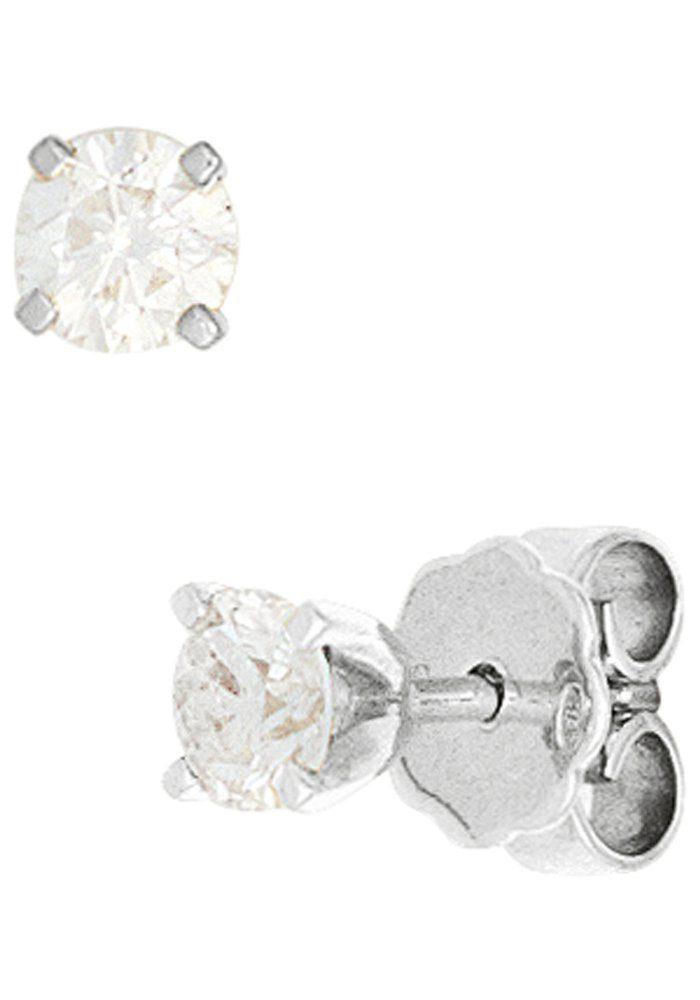 JOBO Paar Ohrstecker rund 585 Weißgold mit 2 Diamanten