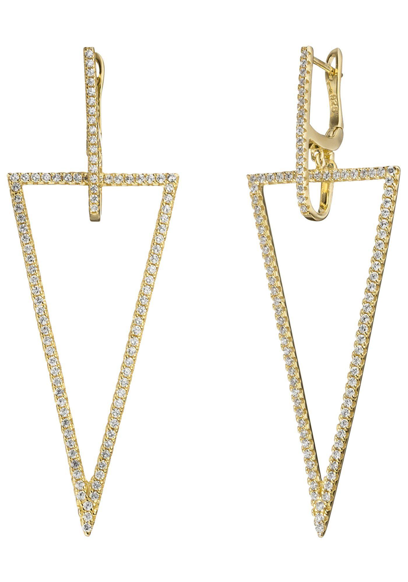 JOBO Paar Creolen dreieckig 925 Silber vergoldet mit Zirkonia