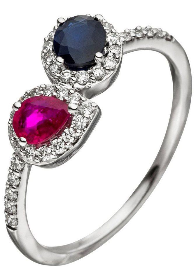 jobo diamantring 585 wei gold mit 38 diamanten rubin safir online kaufen otto. Black Bedroom Furniture Sets. Home Design Ideas