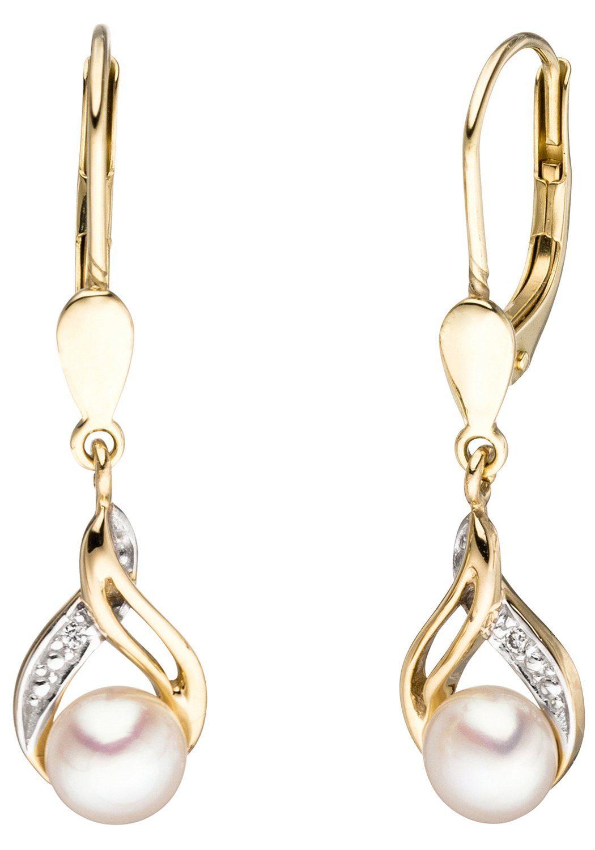 JOBO Perlenohrringe 585 Gold mit 2 Diamanten und Süßwasser-Zuchtperlen