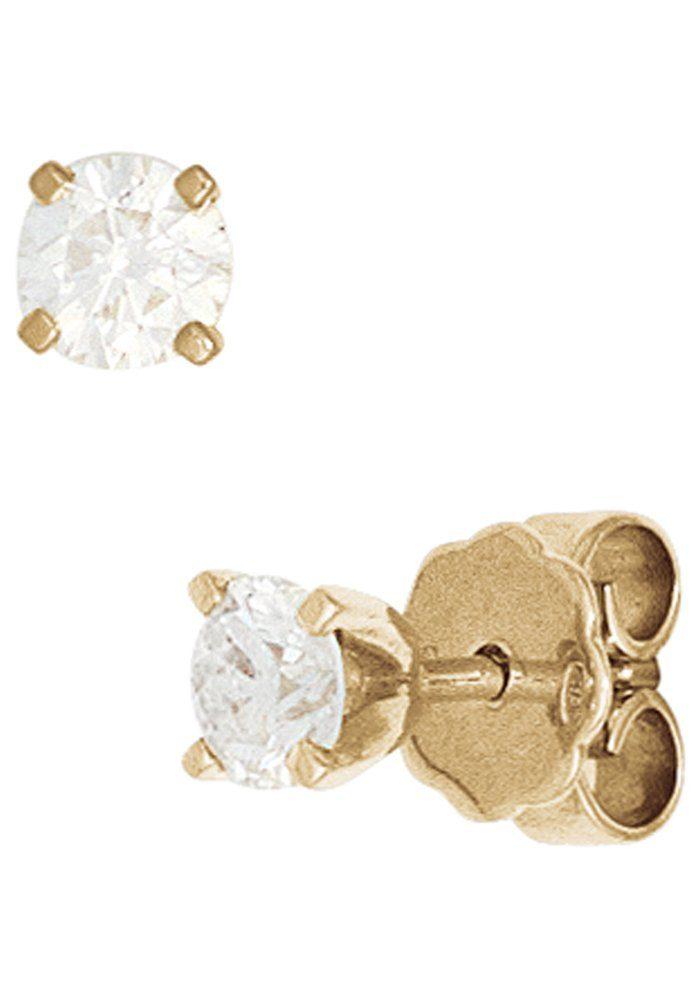 JOBO Paar Ohrstecker rund 585 Gold mit 2 Diamanten