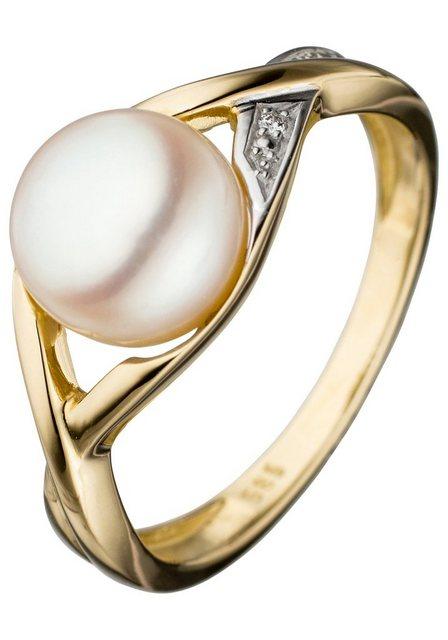 JOBO Perlenring, 585 Gold bicolor mit Süßwasser-Zuchtperle und Diamant   Schmuck > Ringe > Perlenringe   Jobo
