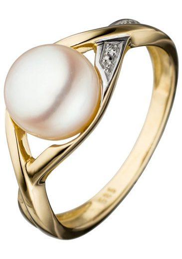 JOBO Perlenring, 585 Gold bicolor mit Süßwasser-Zuchtperle und Diamant