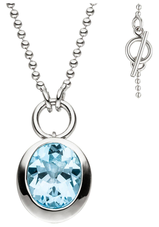 JOBO Collier 925 Silber mit Blautopas 45 cm