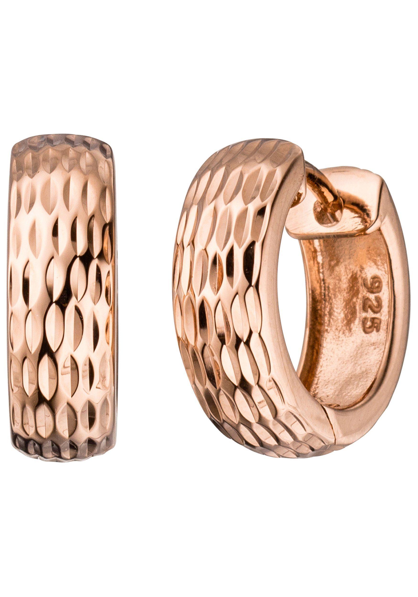 JOBO Paar Creolen rund 925 Silber roségold vergoldet