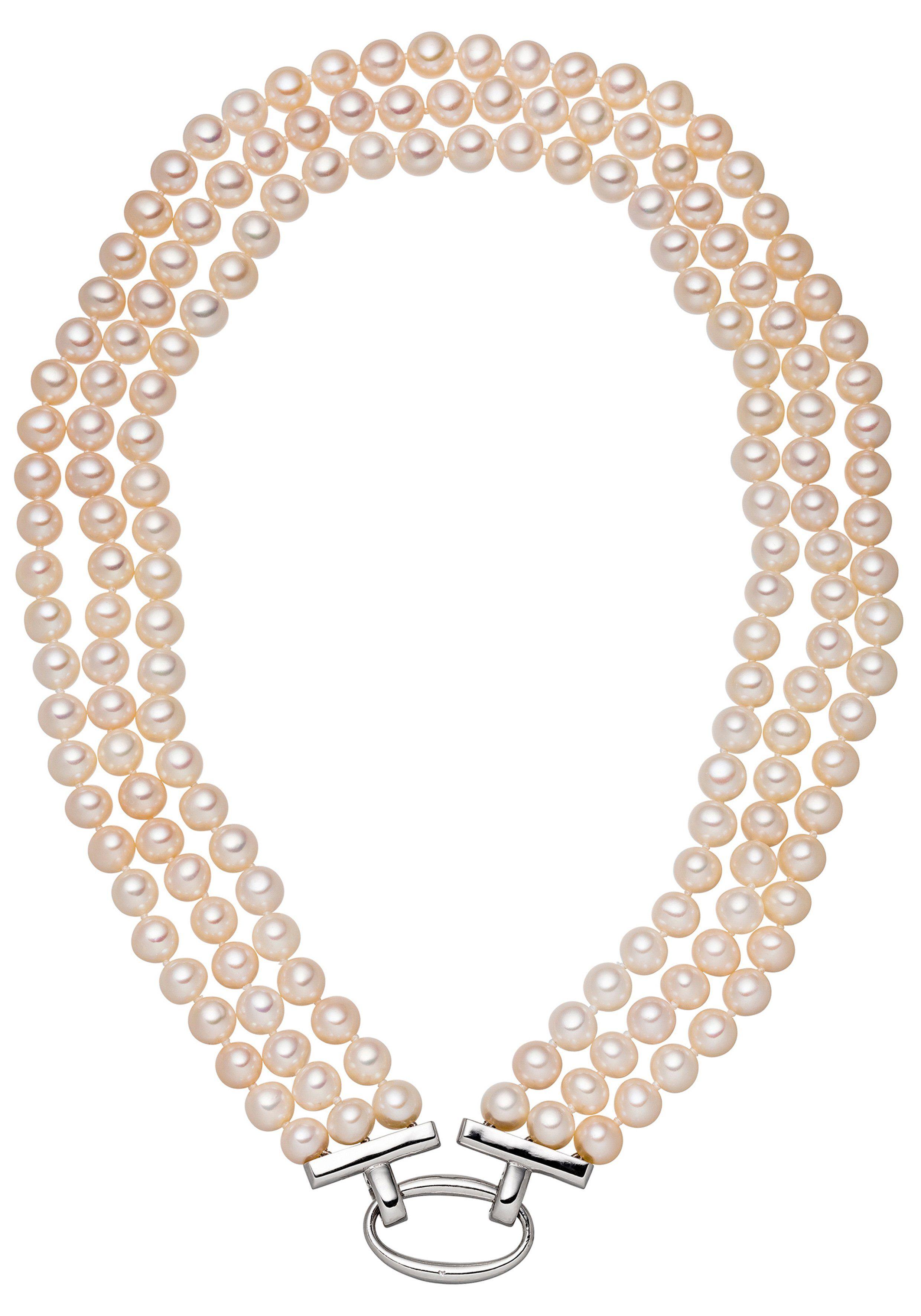 JOBO Perlenkette 925 Silber mit Süßwasser-Zuchtperlen 45 cm