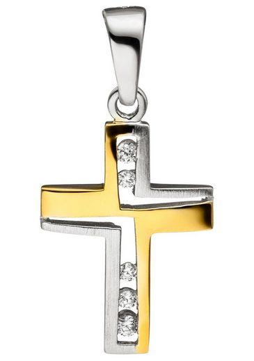 JOBO Kreuzanhänger Kreuz 925 Silber bicolor vergoldet mit Zirkonia