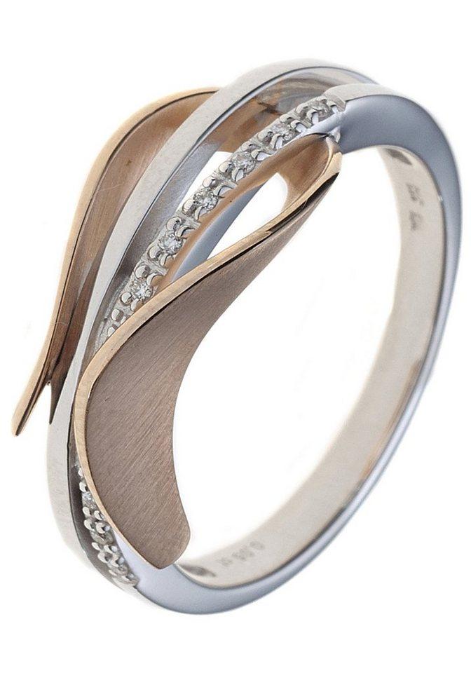 JOBO Diamantring 585 Gold bicolor mit 9 Diamanten | Schmuck > Ringe > Diamantringe | Goldfarben | Si | JOBO