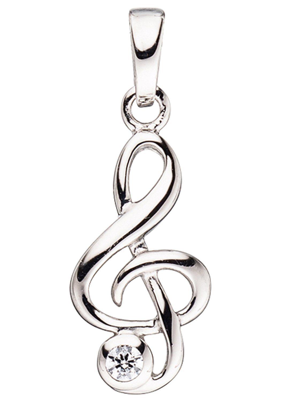 JOBO Kettenanhänger »Notenschlüssel« 925 Silber mit Zirkonia