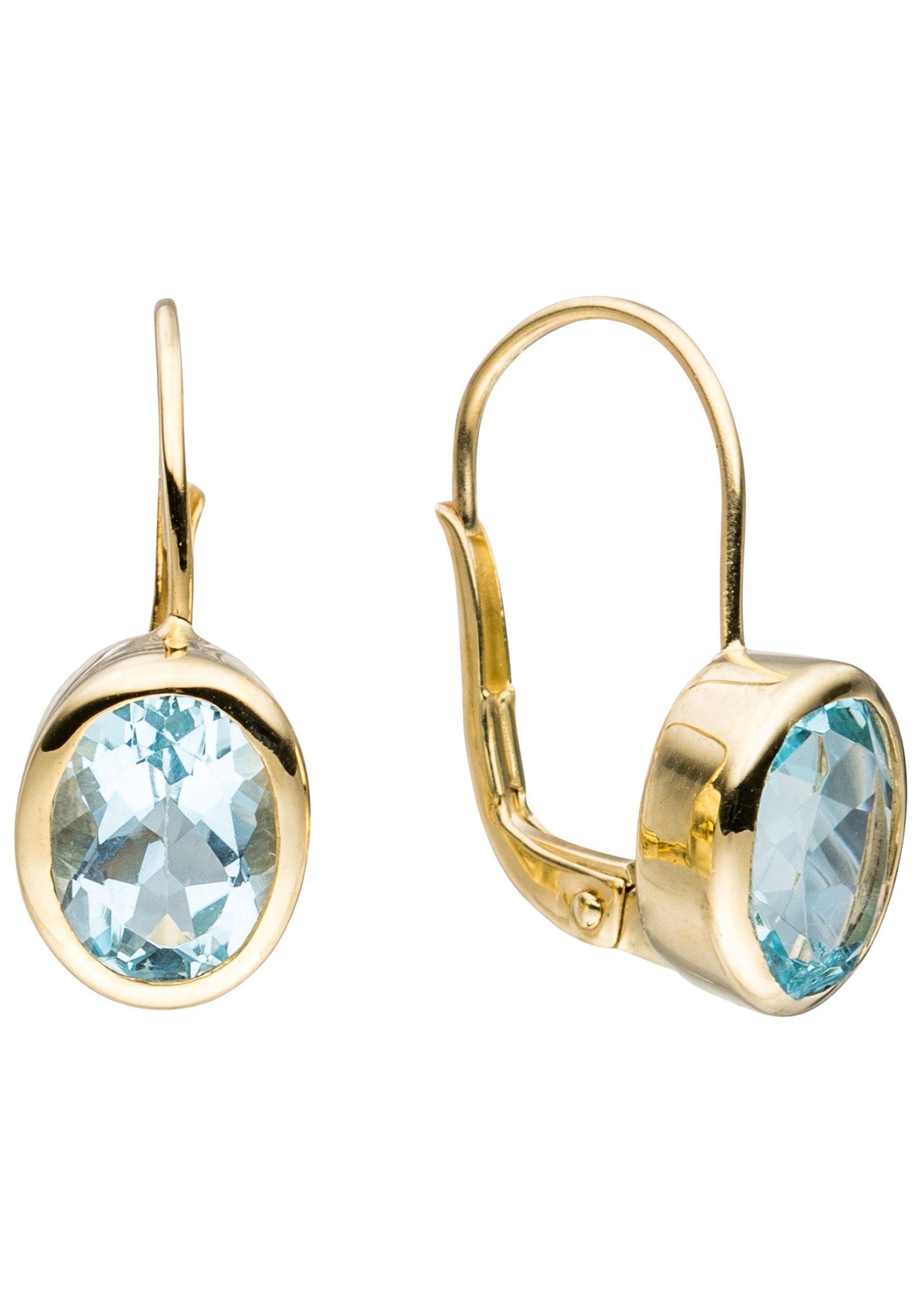 JOBO Paar Ohrhänger oval 333 Gold mit Blautopas